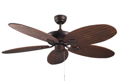 Leds C4 'Phuket' IP23 Pull Chain Ceiling Fan With Optional Light, Copper Brown Coloured Finish - 30-4398-J7-J7