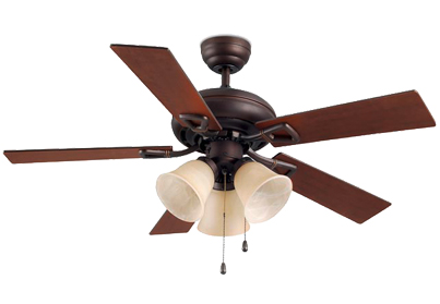 Leds C4 'Dominica' IP20 Pull Chain Ceiling Fan, Copper Brown Finish & Opal Glass Shades - 30-4405-J7-E7