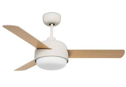 Leds C4 'Klar' IP20 Remote Controlled Ceiling Fan With Central Light, Off White/Cream Finish - 30-4864-16-F9