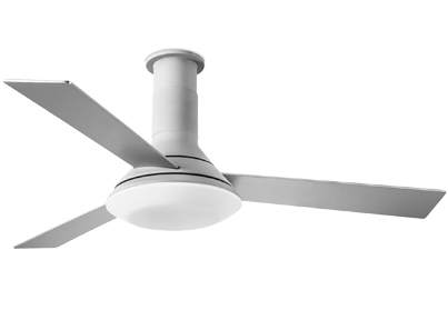 Leds C4 'Fus' IP20 Remote Controlled Ceiling Fan With LED Light,Textured Grey/White Finish - 30-4865-N3-F9