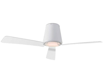 Leds C4 'Garbi' IP44 Remote Controlled Ceiling Fan With LED Light, Matt White Finish - 30-5378-14-F9