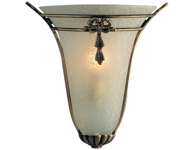 Searchlight Scavo Glass Wall Uplighter, Antique Brass - 30002