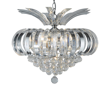 Searchlight Sigma 5 Light Ceiling Light, Chrome Finish With Clear Crystal Prisms & Balls - 30020CC