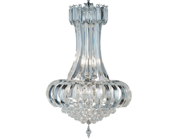 Searchlight Sigma 6 Light Ceiling Light, Chrome Finish With Clear Crystal Prisms & Balls - 30021CC