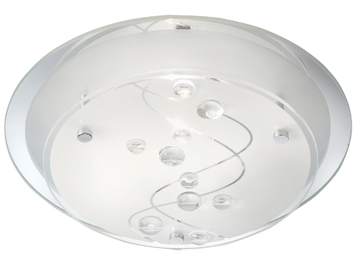 Searchlight 1 Light Small Flush Ceiling Light, Frosted Glass Shade With Clear Bead Detail - 3020-25CC