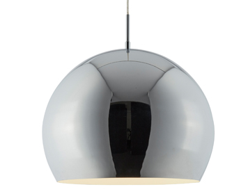 Searchlight Industrial 1 Light Ball Pendant Light, Chrome Finish Shade With White Inner - 3039CC