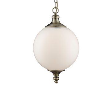 Searchlight Atom 1 Light Ceiling Pendant Light, Antique Brass Finish With Opal Glass Shade - 3051AB