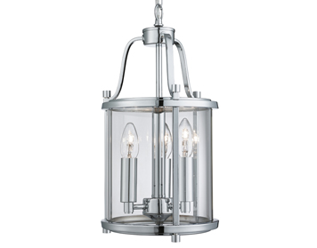 Searchlight Victorian Lantern 3 Light Pendant Ceiling Light, Chrome Finish With Clear Glass Panels - 3063-3CC