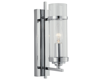 Searchlight Milo 1 Light Clear Glass Wall Light, Polished Chrome Finish - 3091-1CC