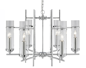 Searchlight Milo 6 Light Clear Glass Ceiling Light, Polished Chrome Finish - 3096-6CC