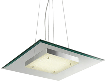 Searchlight Lexi Square LED Light Pendant Light, Chrome Finish With Crushed Ice Effect Deco - 3101-16CC