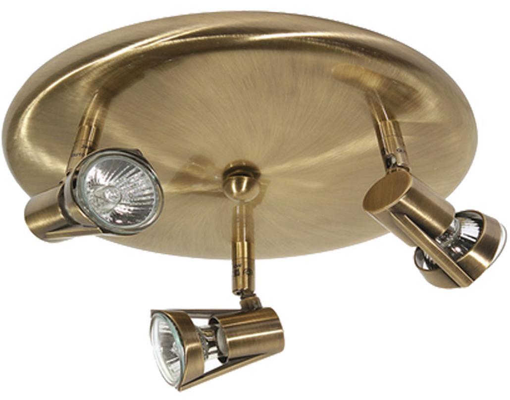 Oaks Lighting Romore 3 Light Ceiling Spotlight Antique Brass