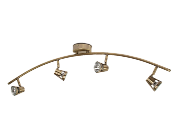 Oaks Lighting Romore 4 Light Bar Ceiling Spotlight, Antique Brass Finish - 3104 B AB