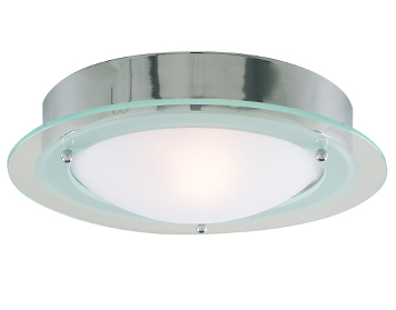 Searchlight 1 Light Flush Bathroom Ceiling Light, Chrome Finish With Clear Glass Ring & Frosted Glass Diffuser - 3108CC