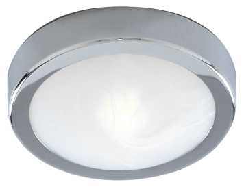 Searchlight 1 Light Flush Bathroom Ceiling Light, Chrome Finish With Marbled Glass Diffuser - 3109CC