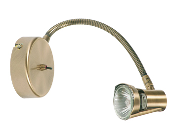 Oaks Lighting Romore Switched Wall Spotlight, Antique Brass Finish - 3121 AB