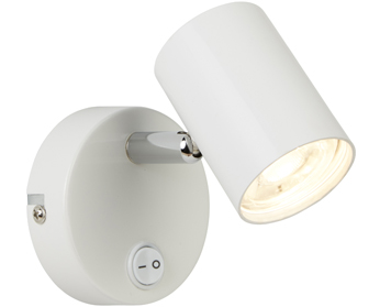 Searchlight Rollo 1 Light Cylinder Head LED Spot Wall Light, White & Chrome Finish - 3171WH