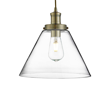 Searchlight Pyramid 1 Light Pendant Ceiling Light, Antique Brass Finish With Clear Glass Shade - 3228AB