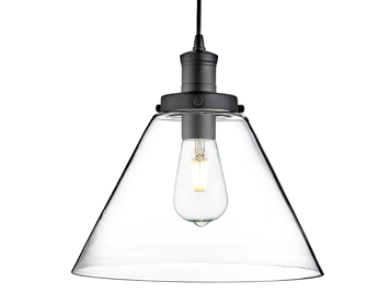 Searchlight Pyramid 1 Light Pendant Ceiling Matt Black Finish With Clear Glass Shade
