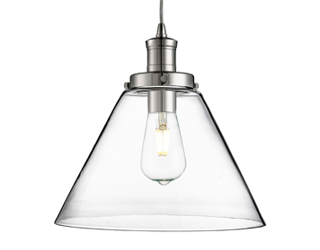 Searchlight Pyramid 1 Light Pendant Ceiling Light, Chrome Finish With Clear Glass Shade - 3228CC