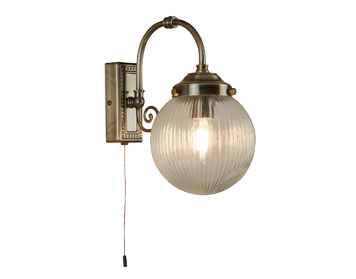 Searchlight Belvue 1 Light Switched Bathroom Wall Light, Antique Brass Finish with Clear Glass Shade - 3259AB