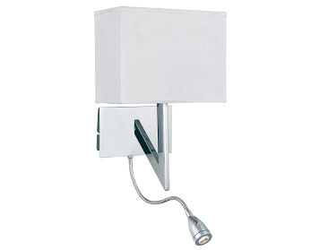 Searchlight 1 Light Switched Wall Light With Integrated LED Flexible Arm Reading Lamp, Chrome Finish - 3299CC