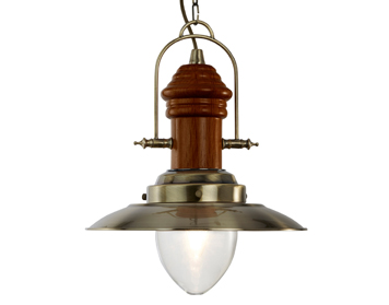 Searchlight Fisherman 1 Light Pendant Ceiling Light, Antique Brass & Dark Wood Finish - 3301AB