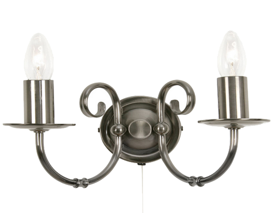 Oaks Lighting Tuscany Twin Wall Light, Antique Silver Finish - 3380/2 AS