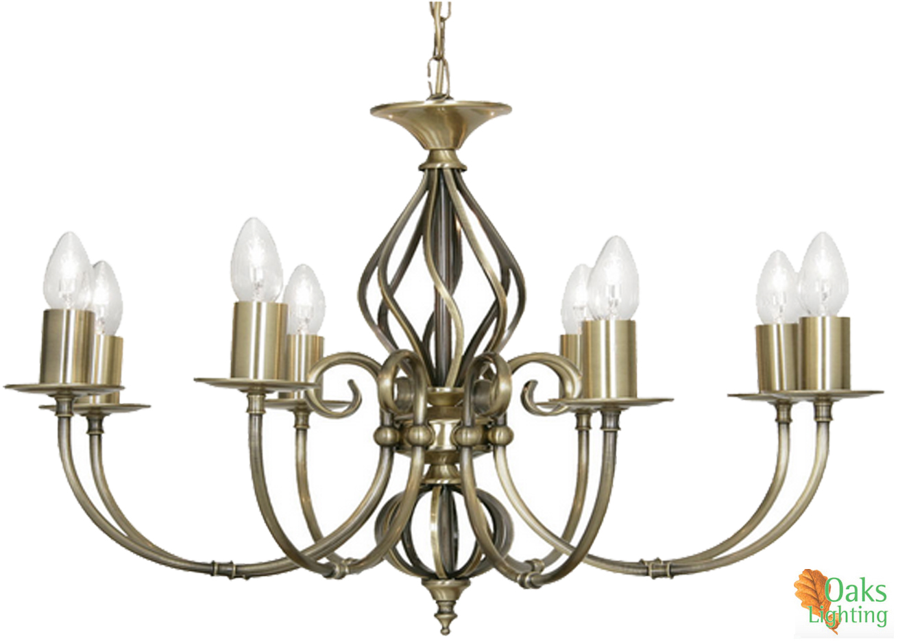 Oaks lighting 39tuscany39 8 light ceiling light antique for Tuscany floor lamp antique brass