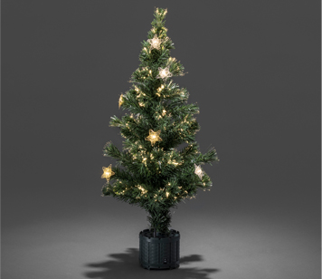 Konstsmide 900mm Fibre Optic LED Christmas Tree With Silver & Gold Coloured Star Lights - 3398-900