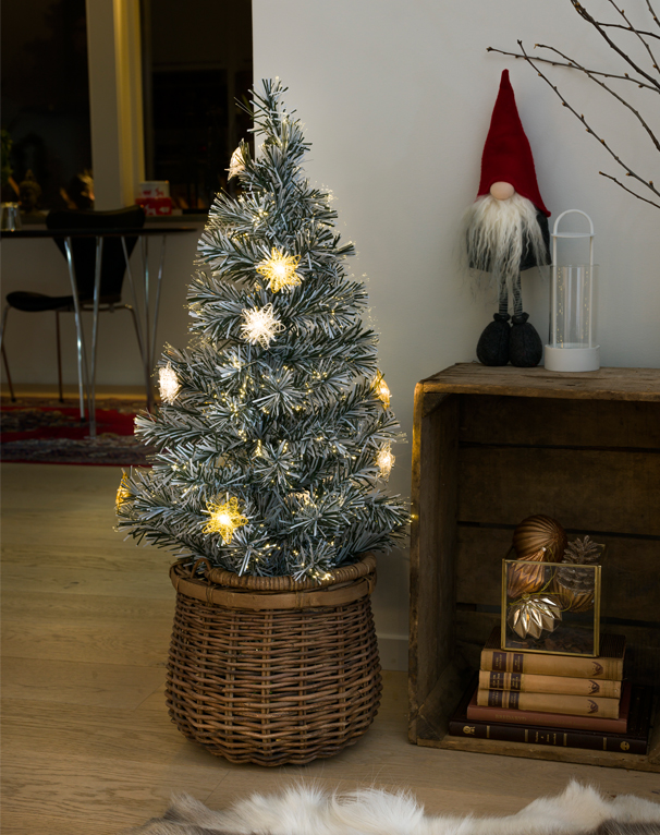 Konstsmide 900mm Fibre Optic LED 'Snow-Tipped' Christmas Tree With Silver & Gold Coloured Star Lights - 3398-920 None