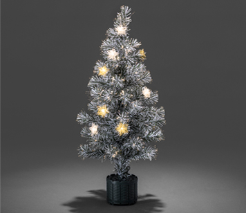 Konstsmide 900mm Fibre Optic LED 'Snow-Tipped' Christmas Tree With Silver & Gold Coloured Star Lights - 3398-920