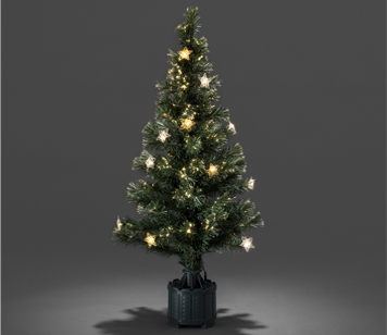 Konstsmide 1200mm Fibre Optic LED Christmas Tree With Silver & Gold Coloured Star Lights - 3399-900