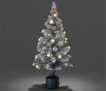 Konstsmide 1200mm Fibre Optic LED 'Snow-Tipped' Christmas Tree With Silver & Gold Coloured Star Lights - 3399-920