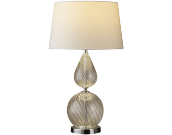Searchlight Derby 1 Light Table Lamp, Clear Ribbed Glass Base With White Tapered Shade - 3401CL