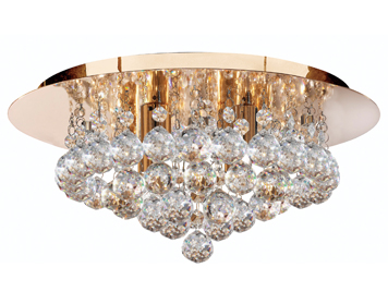 Searchlight Hanna 4 Light Semi-Flush Ceiling Light, Gold Mirrored Finish With Clear Crystal Balls - 3404-4GO