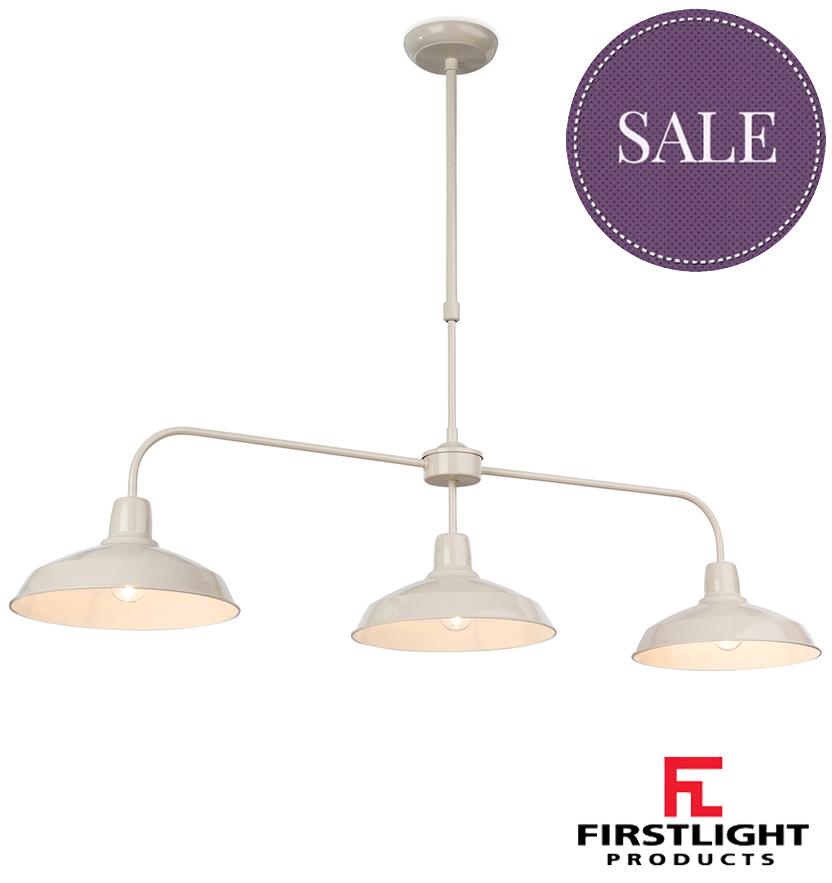 Firstlight 'Lounge' 3 Light Ceiling Pendant, Cream Finish