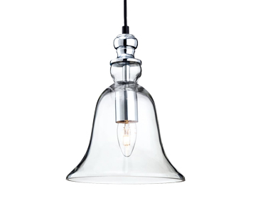 Firstlight Omar Single Light Ceiling Bell Shaped Pendant, Chrome Finish With Clear Glass - 3411CH