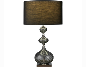 Searchlight Edition 1 Light Table Lamp, Smokey Ribbed Glass Base With Black Drum Shade - 3411SM