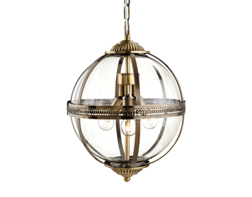 Firstlight Mayfair 3 Light Ceiling Pendant, Antique Brass Finish With Clear Glass - 3413AB