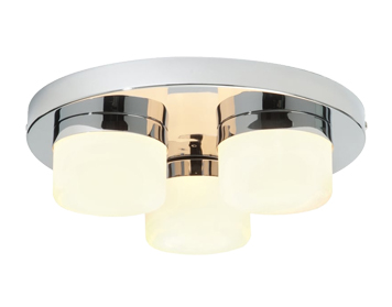 Endon Pure 3 Light Flush Ceiling Light, Chrome Plate & Matt Opal Duplex Glass Finish - 34200