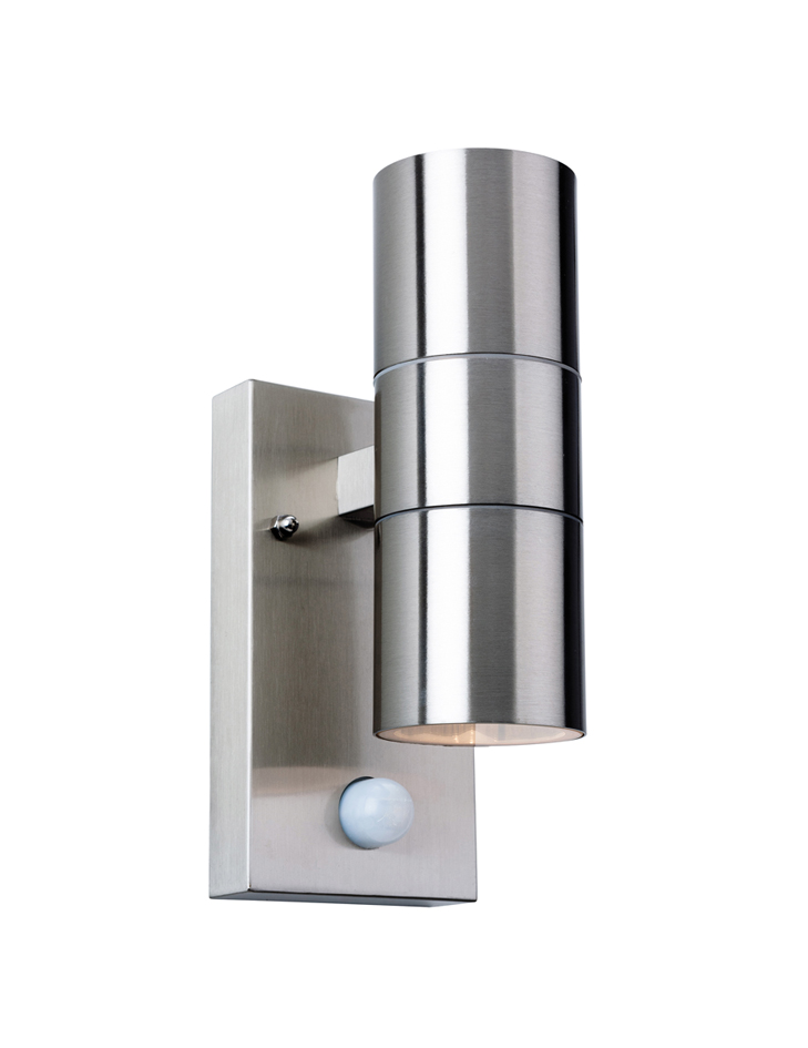 Wall Lamps With Pir : Firstlight Colt IP44 2 Light Outdoor Wall Lamp with PIR Sensor, Stainless Steel Finish ...
