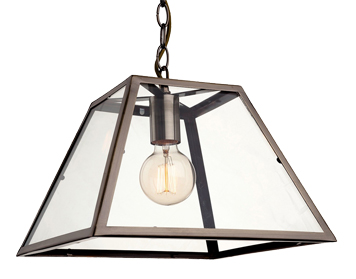Firstlight Kew Single Light Ceiling Pendant, Antique Brass Finish With Clear Glass - 3439AB
