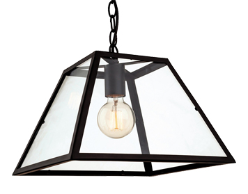 Firstlight Kew Single Light Ceiling Pendant, Black Finish With Clear Glass - 3439BK