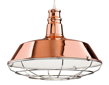 Firstlight Manta Single Light Ceiling Pendant, Copper Finish With Chrome Grill - 3444CP