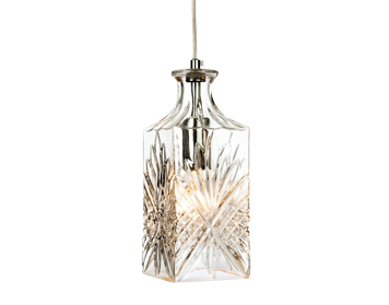 Firstlight Decanter Single Light Ceiling Pendant, Chrome Finish With Glass Shade - 3447CH