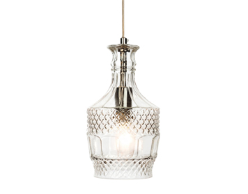 Firstlight Decanter Single Light Ceiling Pendant, Chrome Finish With Glass Shade - 3449CH