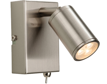 Firstlight Orion 3 Light LED Integrated Switched Wall Lamp, Brushed Steel Finish - 3453BS