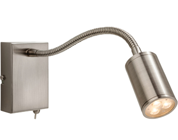 Firstlight Orion 3 Light LED Integrated Switched Wall Lamp, Brushed Steel Finish - 3454BS