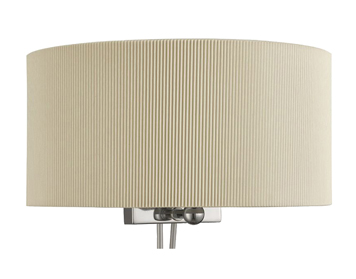 Searchlight Drum Pleat 2 Light Wall Light, Chrome Finish With Cream Pleated Shade - 3462-2CR